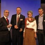 """Assises """"La France en danger"""" samedi 10 mars 2012, Paris. De gauche à droite : Jean-Yves Le Gallou, Jared Taylor, Catherine Blein et Fabrice Robert."""